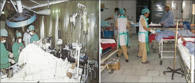 Figure 17: The Neurosurgery operation theatre and intensive care unit before 2007. The patients are being cared for on trollies.