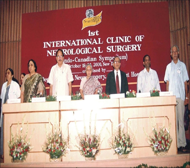 Figure 8: The First International Clinic of Neurosurgery 2000 (the Indo-Canadian Symposium) at G.B. Pant Hospital. Mrs. Sheila Dixit, the Chief Minister of Delhi, Dr. A.K. Walia, the Health Minister, Dr. S.P. Agarwal, Director General of Health Services, with Dr. Mandal and Dr. Sushil Kumar.