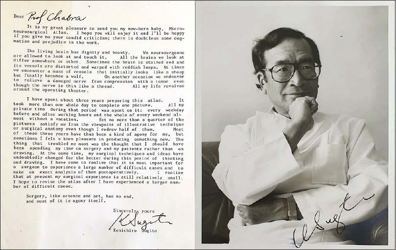 "Figure 13: Letter from Prof. Kenichiro Sugita written in his book, ""Microneurosurgical Atlas' [1985; Springer], that he gifted to Prof. Chhabra"